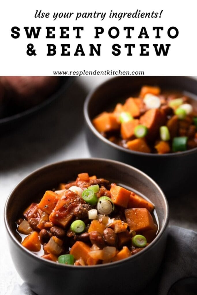 Two bowls of sweet potato and bean stew