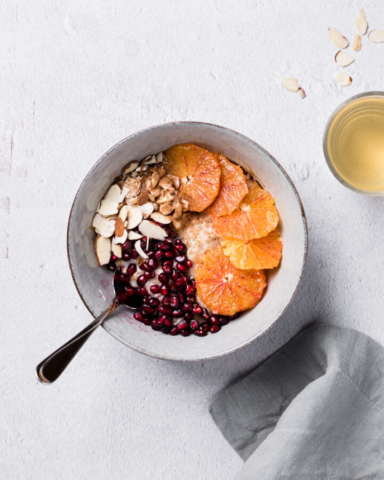 bowl of oatmeal with fruit