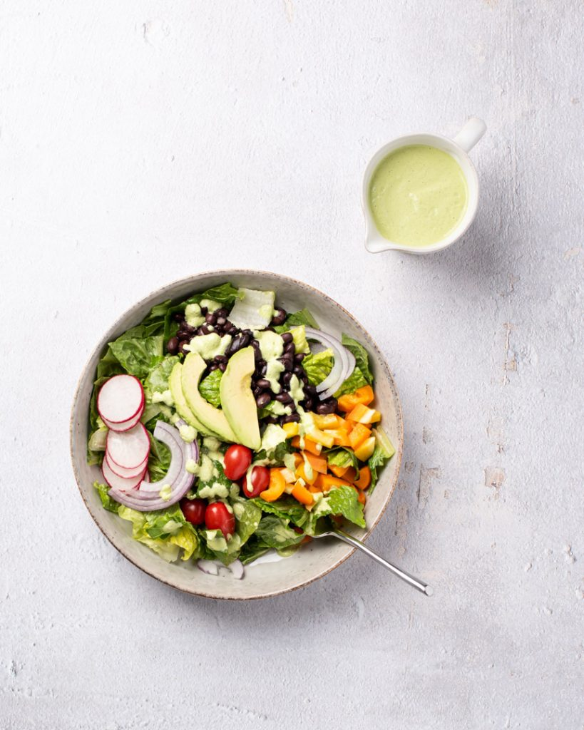 Southwest Salad bowl with dressing