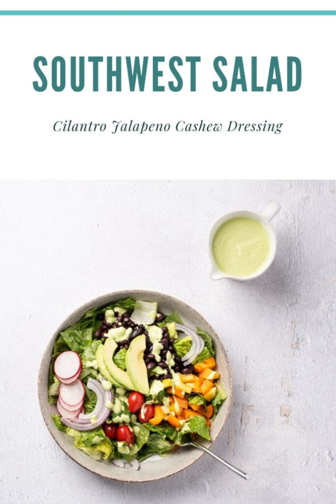 bowl of southwest salad with small bowl of dressing