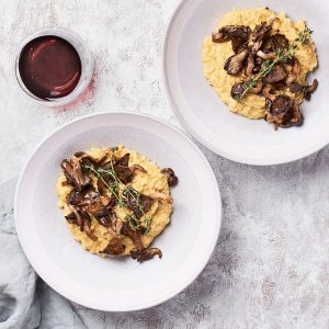 Vegan Polenta Recipe with mushrooms and garlic featured image