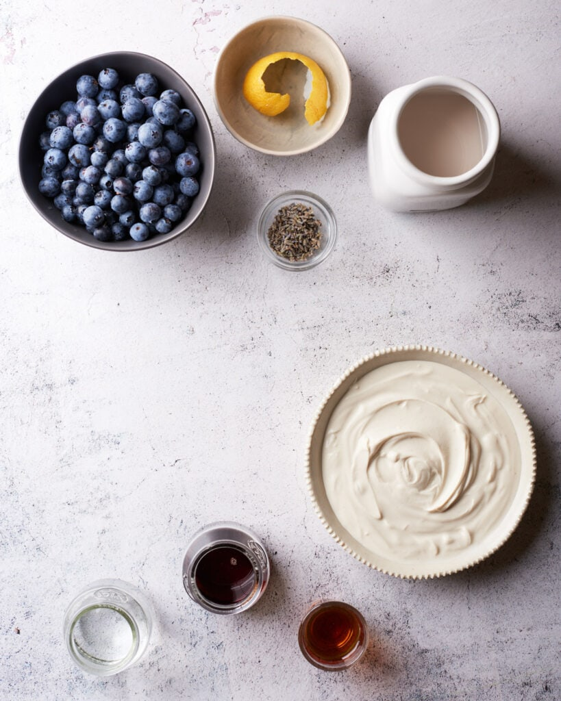 overhead shot of blueberry popsicles ingredients