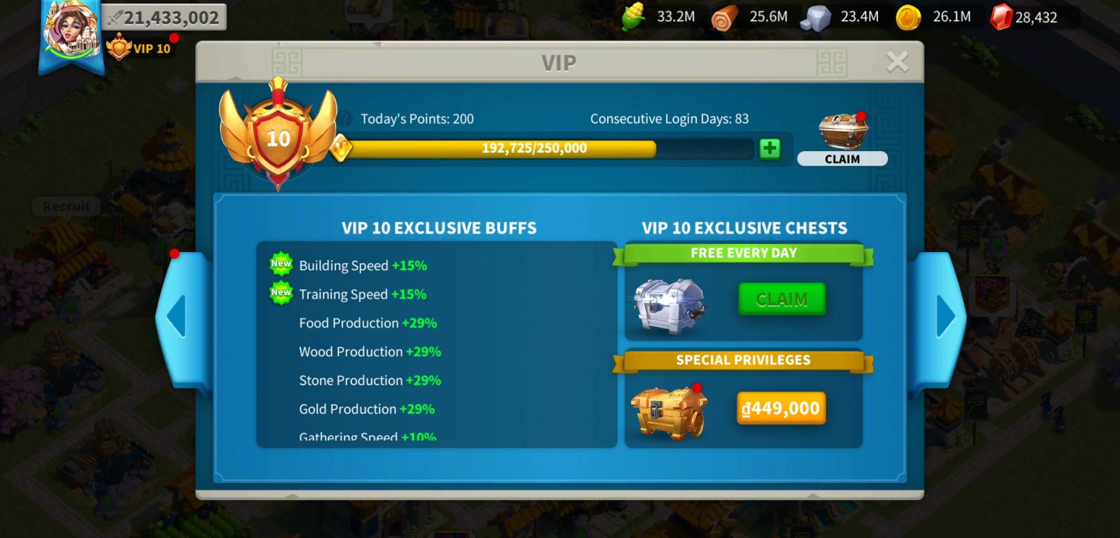 Rise of Kingdoms VIP Points
