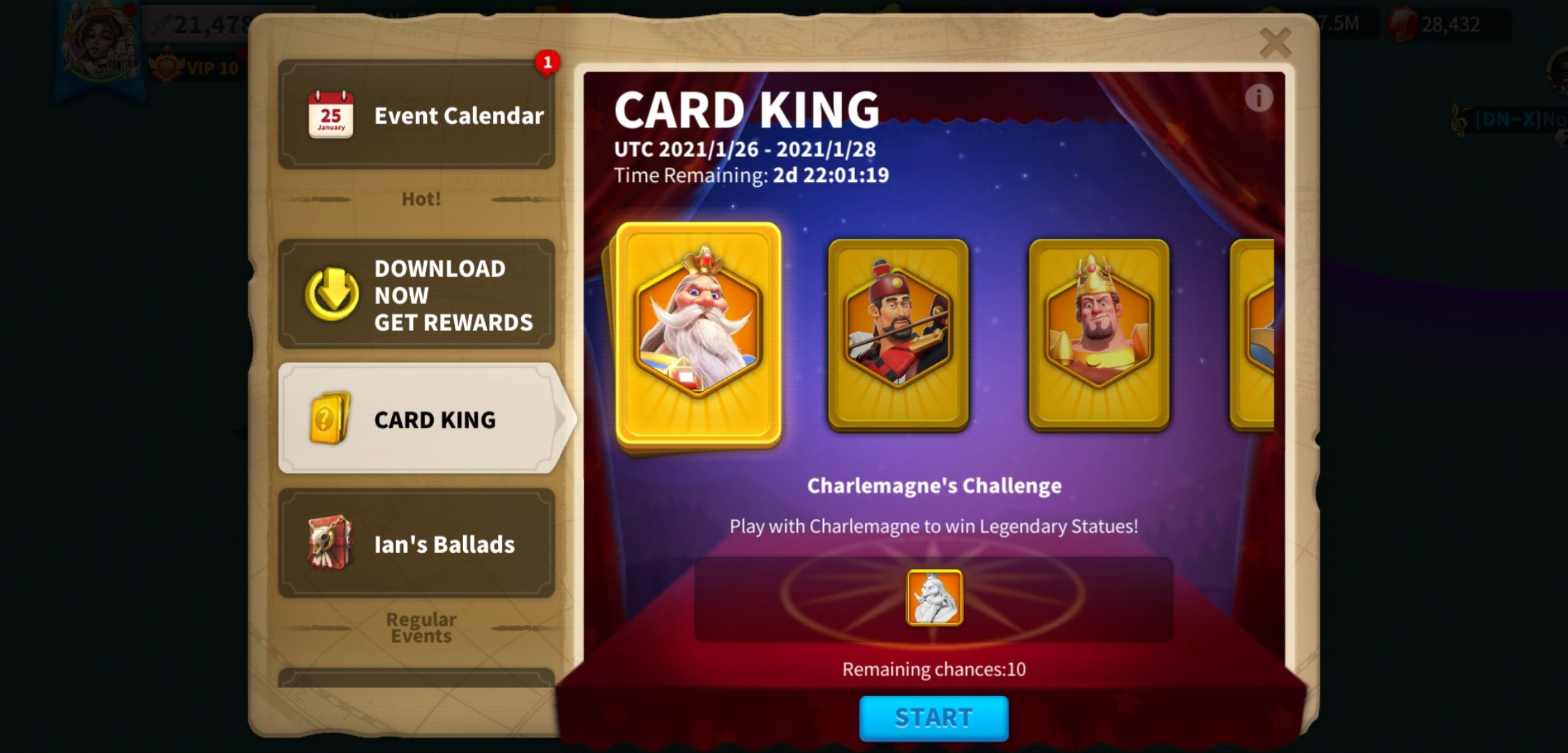 Rise of Kingdoms Card King Event