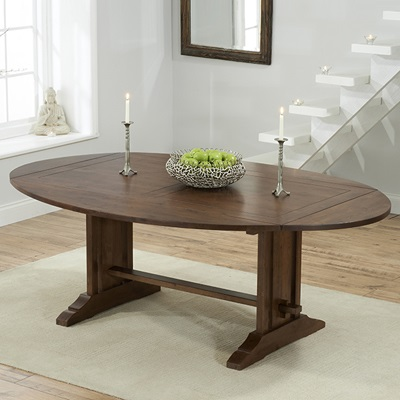 Carver Dark Oak Oval Extending Dining Table With 6 Albany Beige