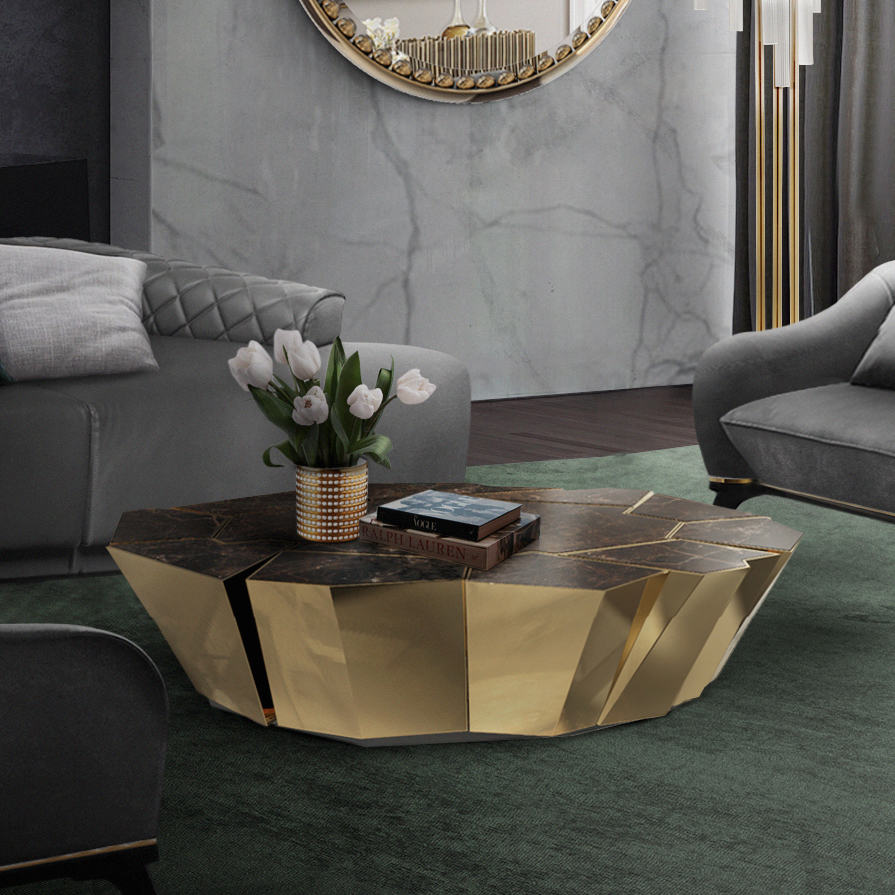 Cadiz Crackle Luxury Marble Center Coffee Table Robson Furniture
