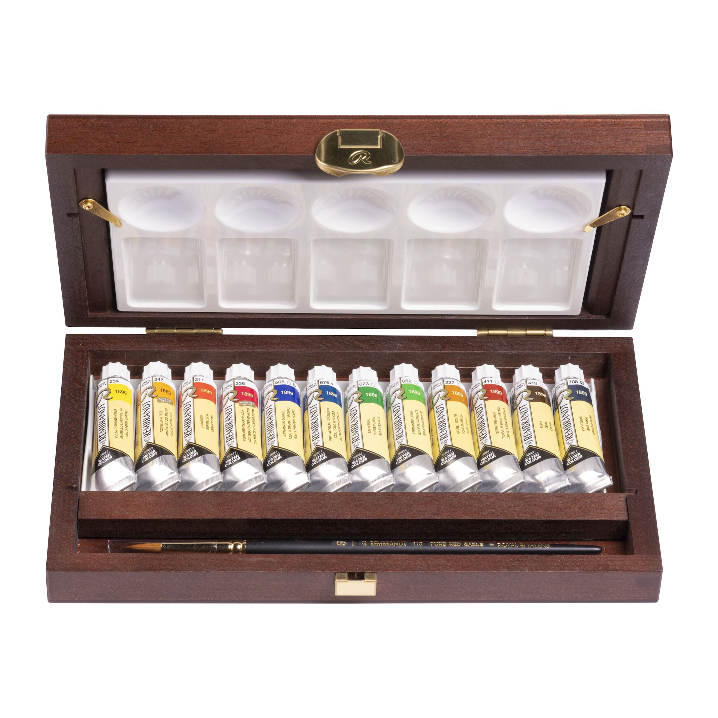 Professionelles Aquarellfarben Set Im Traditionellen Holzkasten