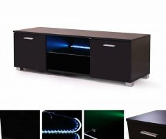 57'' Led Tv Stands with Rgb Led Light and Glass Shelves