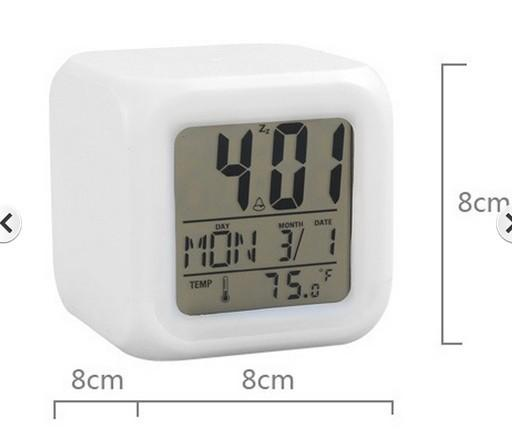 7 color glowing led digital display with alarm thermometer cube clock