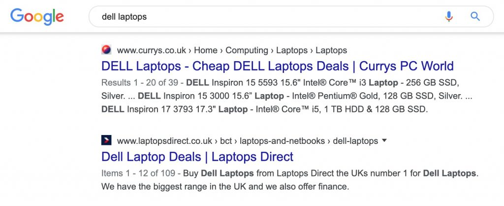 dell laptop serp
