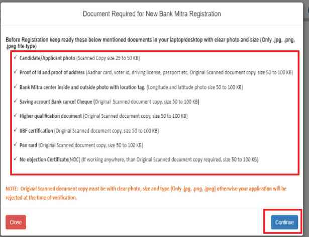 Document Required for New Bank Mitra Registration