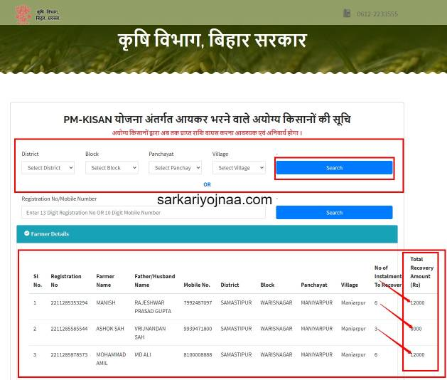 Pm Kisan Amount Recovery List, PmKisan, DBT Agriculture