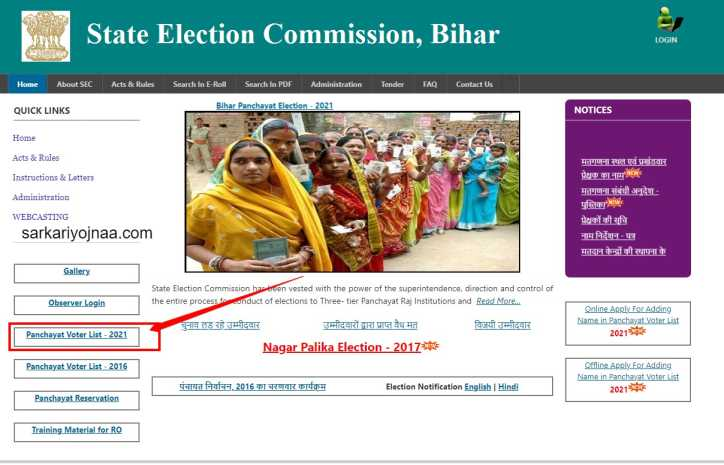 Bihar Panchayat Election Voter ID List 2021