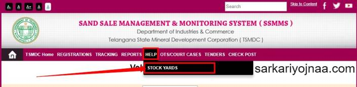 SSMMS Stock Yard Contact Details  , TS Sand Booking