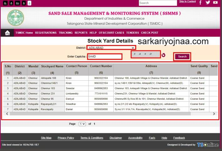 Stock Yard Contact Details , TS Sand Booking