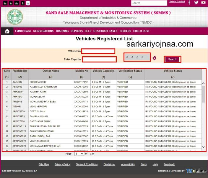 TSMDC Portal VEHICLE REGISTERED LIST , TS Sand Booking