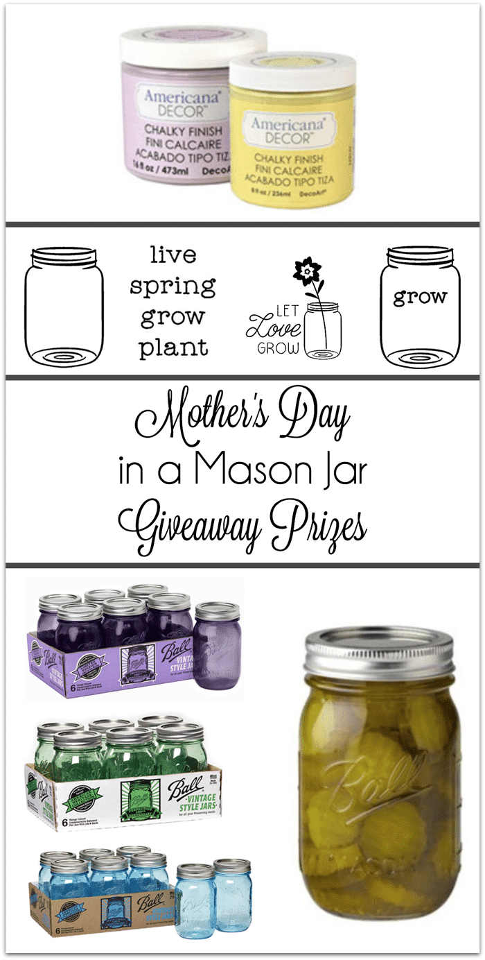 Enter this Mother's Day in a Mason Jar Giveaway and make your own Mother's Day gifts! Prizes include Ball Mason Jars, DecoArt Americana Chalky Finish Paint and Decorating your Life vinyl. www.settingforfour.com