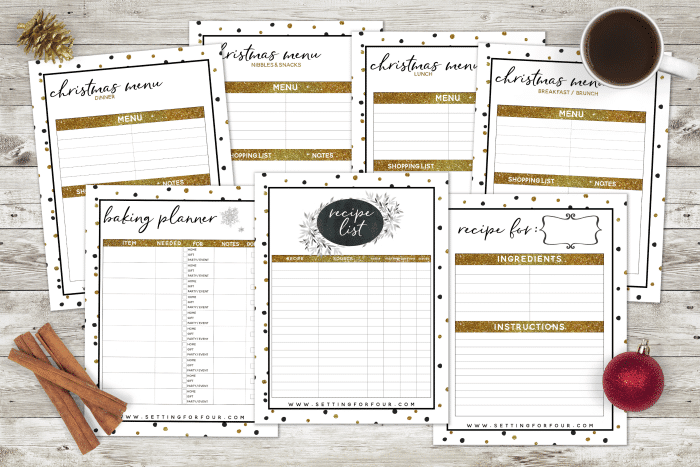 This gorgeous Holiday Chic Planner will organize you for the holidays so you don't miss a thing! 27 printable pages. #planner #Christmas #holiday #printable #organization #menu #gift