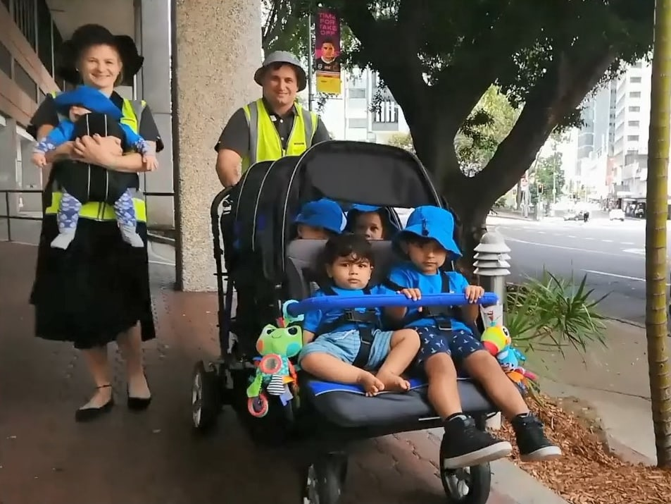 Our 6 seater stroller in action brisbane city childcare