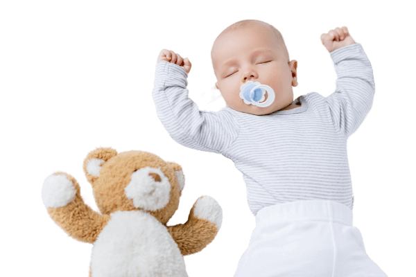 Photo of sleeping baby after his parents got help from with a sleep coach for babies.