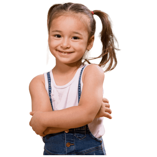 Photo of kindergarten-aged girl whose parents worked with a pediatric sleep consultant.