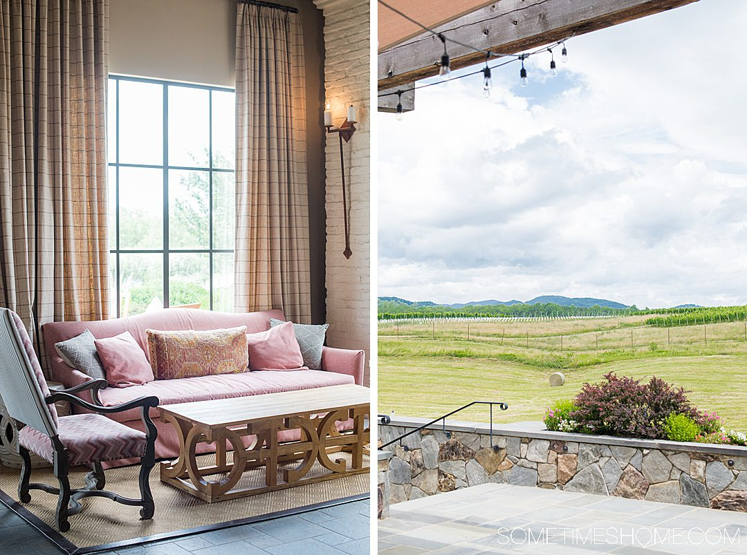 A pink couch and view of the Blue Ridge Mountains at Early Mountain Vineyards.