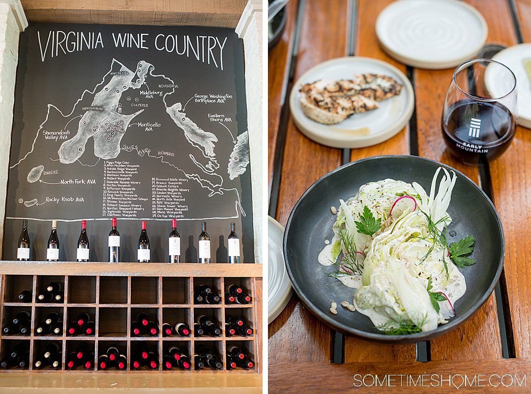 Blackboard with information on Virginia Wine Country and a wedge salad at Early Mountain winery.