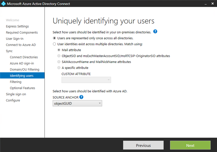 Microsoft Azure AD Connect uniquely identifying your users