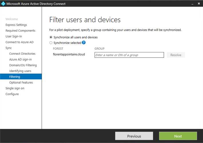 Microsoft Azure AD Connect filter users and devices