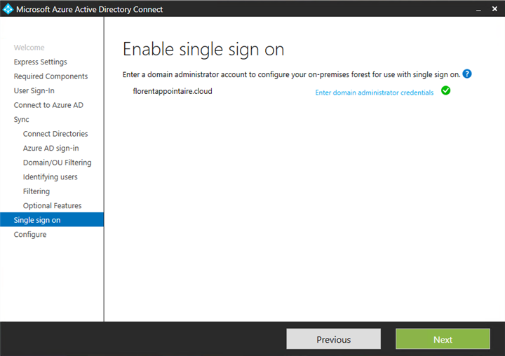 Microsoft Azure AD Connect Enable single sigh on
