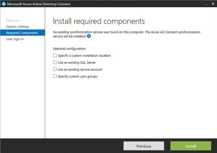 Microsoft Azure AD Connect install required components