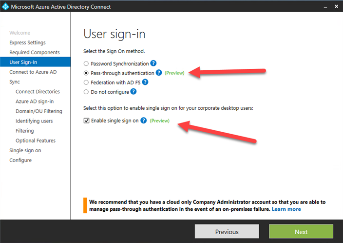 Microsoft Azure AD Connect user sign-in