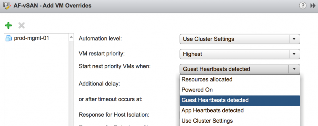 Add VM overrides guest heartbeats detected