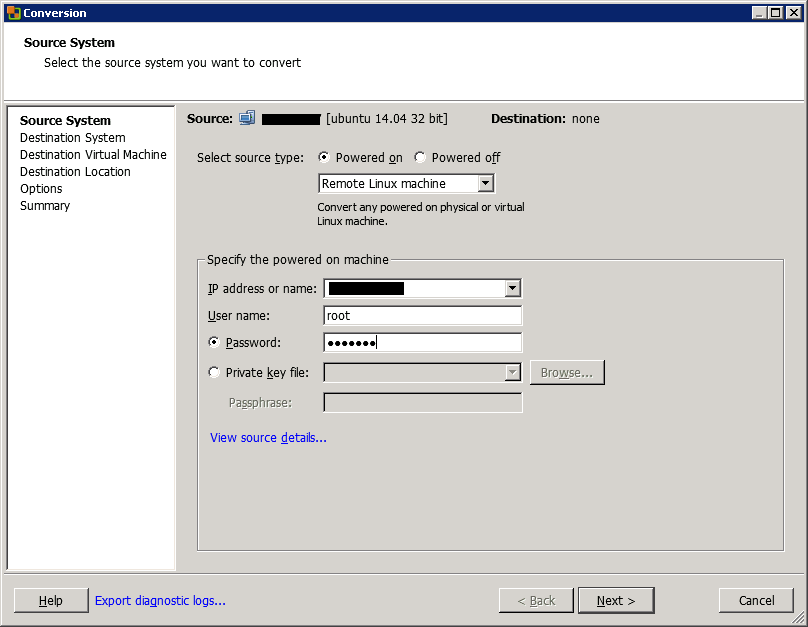 VMware vCenter Converter Standalone conversion source system view
