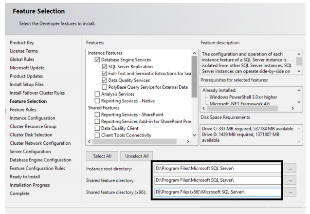 SQL Server Failover Cluster Features Selection