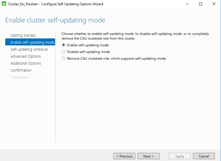 Enable self-updating mode
