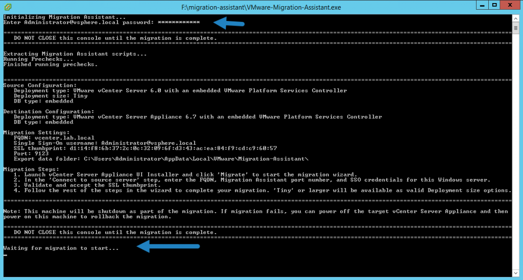 Provide Administrator@vsphere.local password and wait for pre-checks to finish