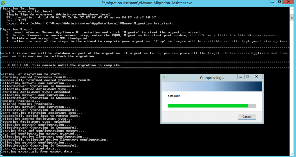 During this time the original vCenter with migration assistant helps during the process of migration