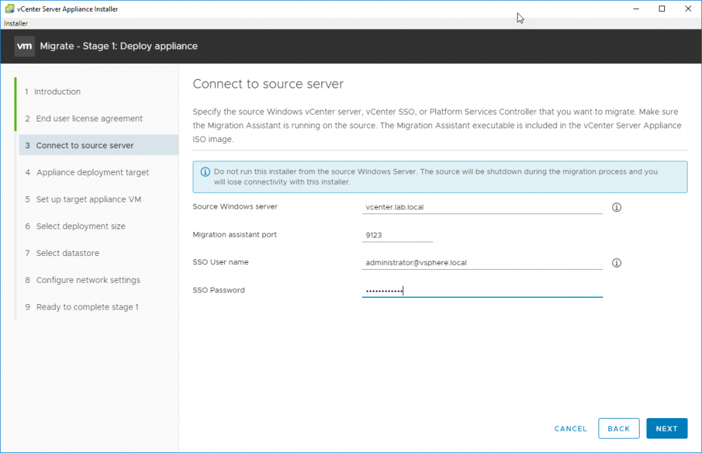 Connect to the source server