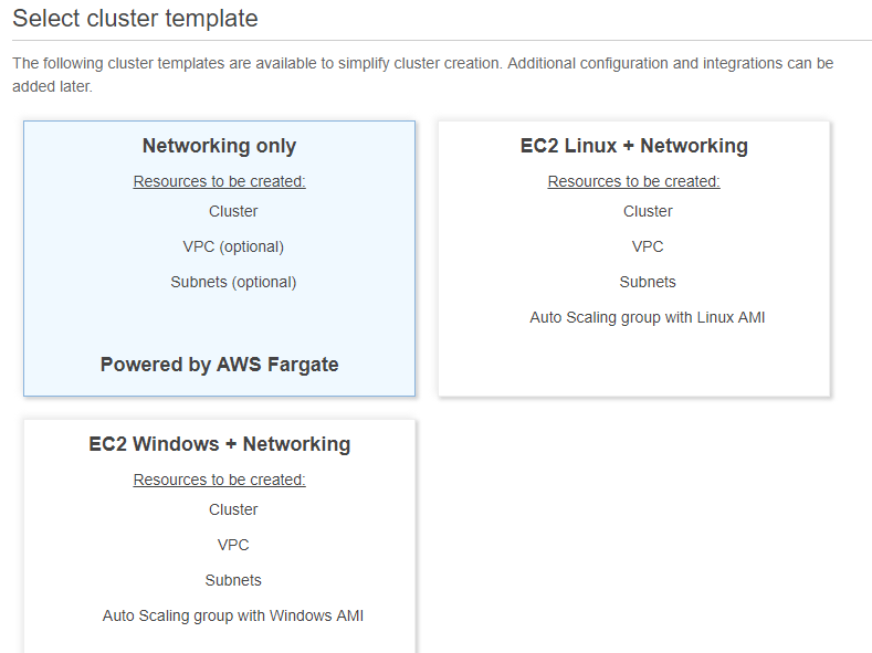 select cluster template
