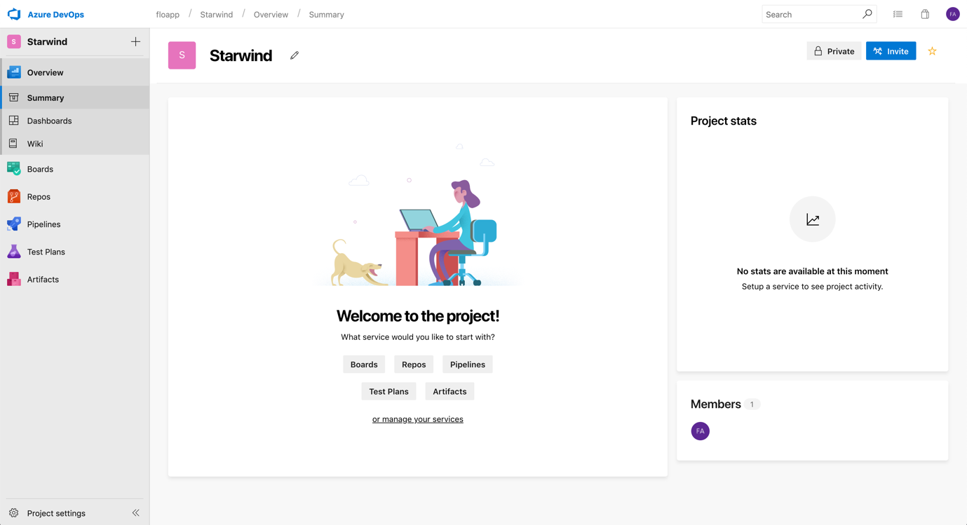 When the project is created, you can invite people, etc.