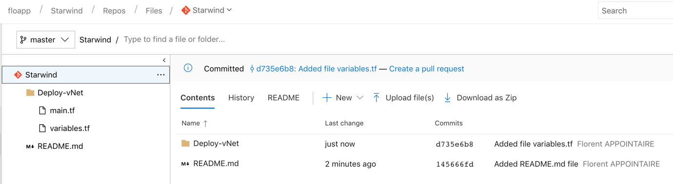 create a folder, with 2 files, main.tf and variables.tf