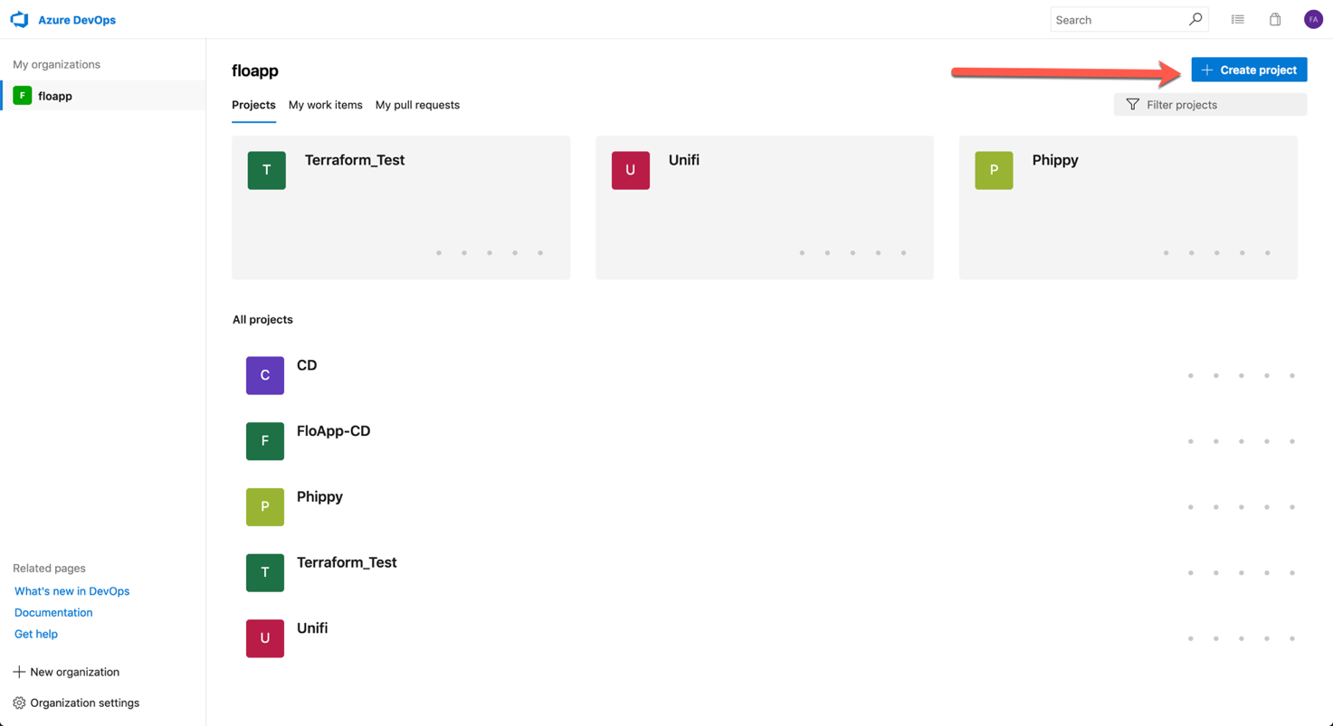 Open via the URL your Azure DevOps and create a new project by clicking on Create project