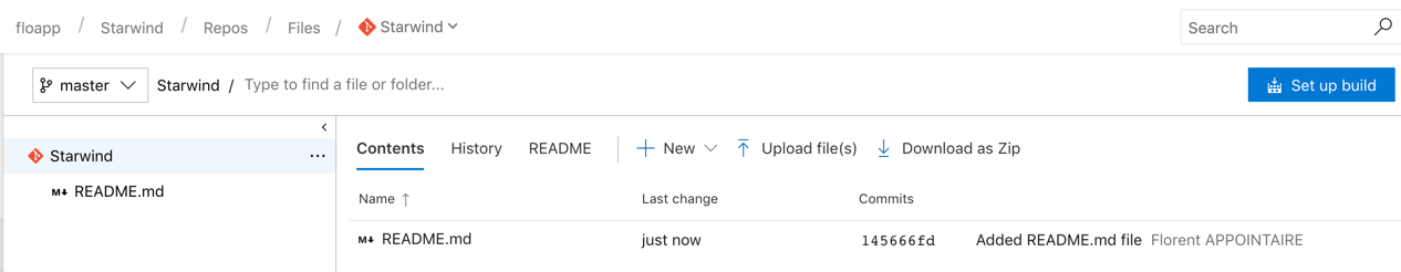 you'll have at least one file in your repository