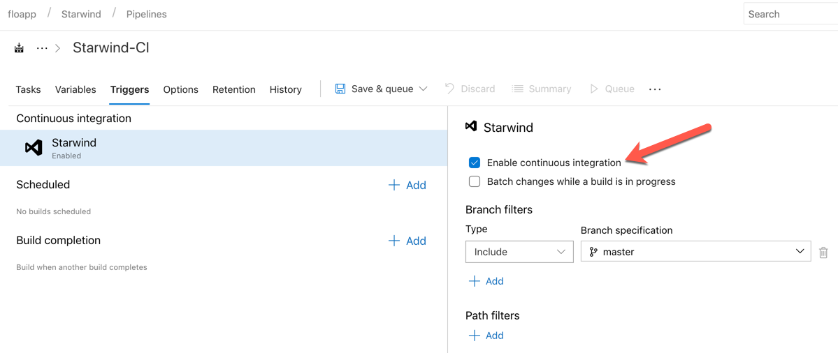 Click now on Triggers to activate the CI (Continuous Integration) to launch this build