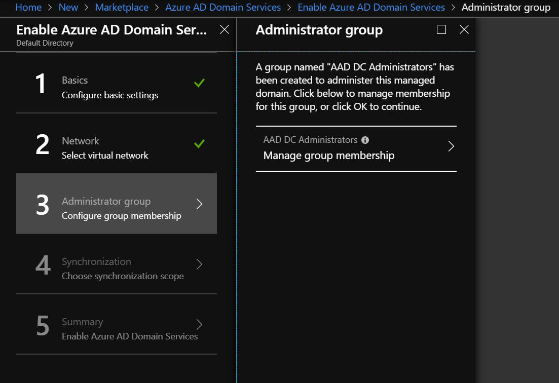Configure the AADDS Group Sync