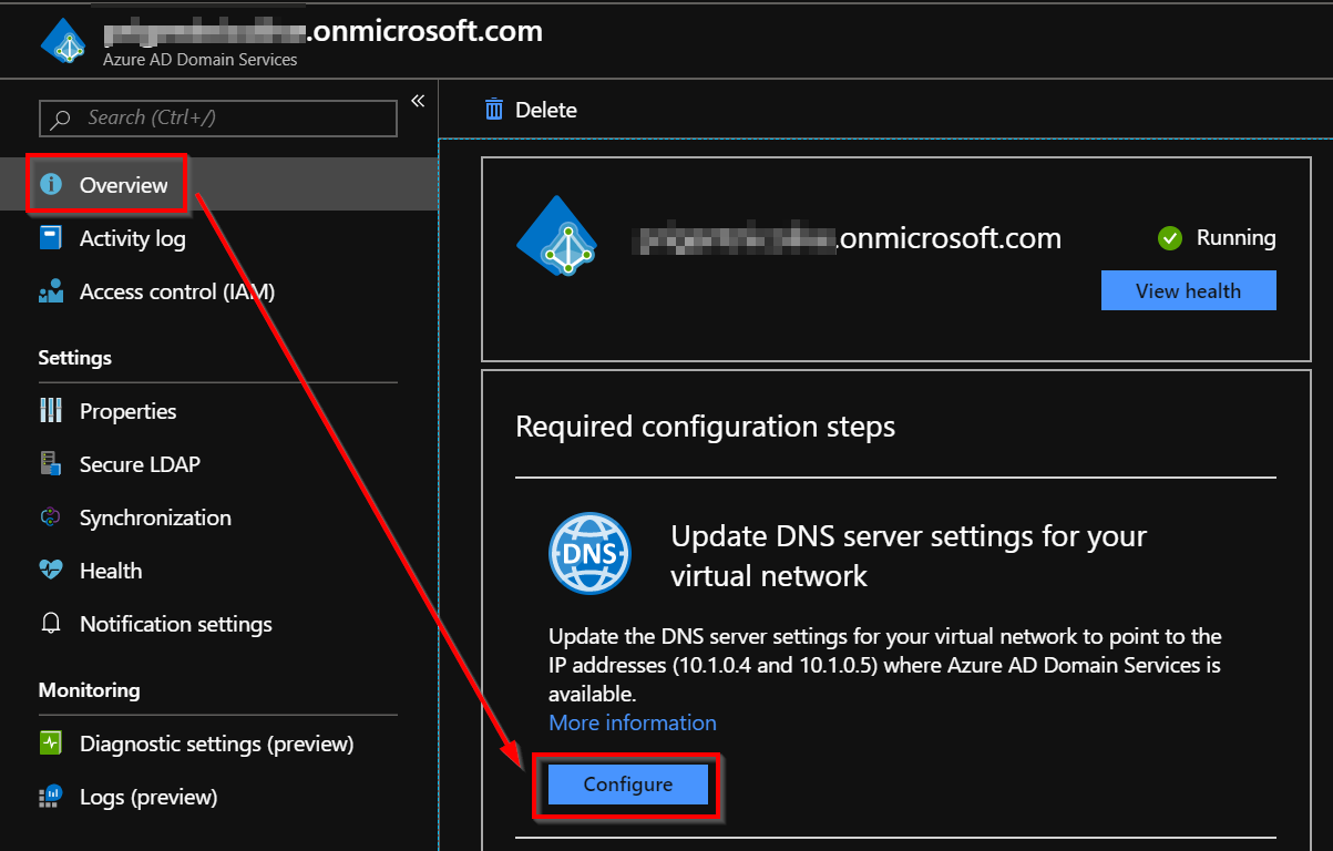 Configure the AADDS DNS Settings