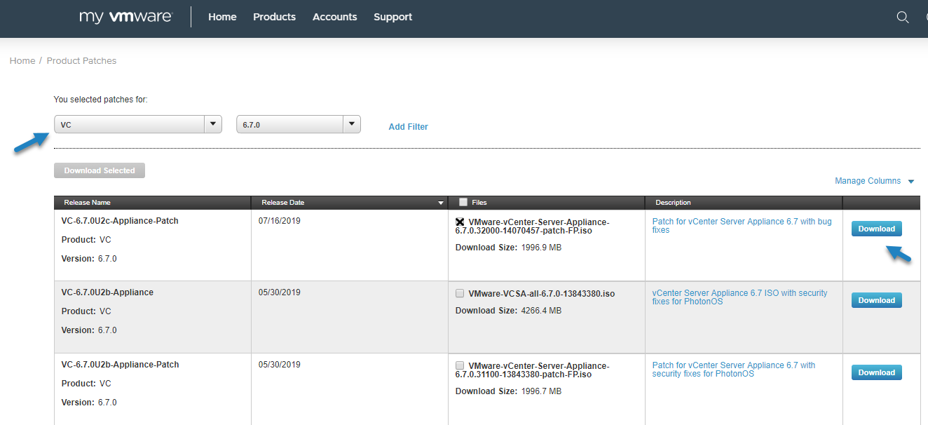 Download the latest VCSA ISO Patch