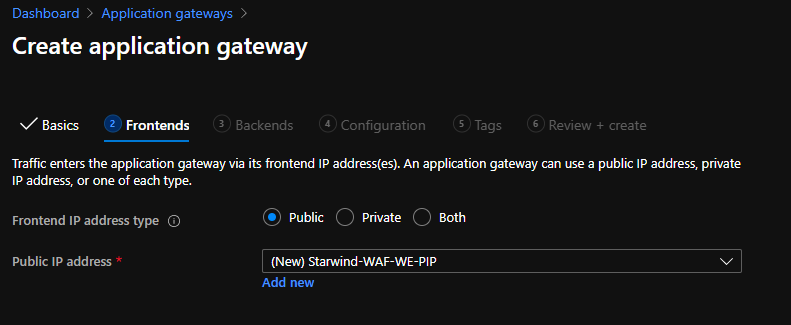 Create a public IP for this WAF