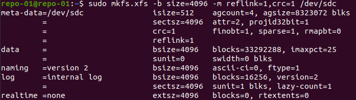 Format with XFS